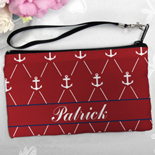 Personalized Red White Anchor Clutch Bag (5.5X10 Inch)
