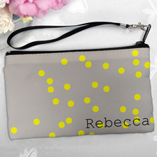 Personalized Yellow Natural Polka Dots Clutch Bag (5.5X10 Inch)