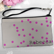 Personalized Fuchsia Natural Polka Dots Clutch Bag (5.5X10 Inch)