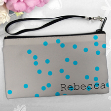 Personalized Turquoise Natural Polka Dots Clutch Bag (5.5X10 Inch)