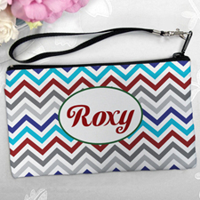 Personalized Grey Blue Red Chevron Clutch Bag (5.5X10 Inch)