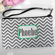 Personalized Grey Chevron Clutch Bag (5.5X10 Inch)