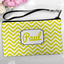 Personalized Yellow Chevron Clutch Bag (5.5X10 Inch)