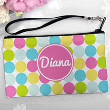 Personalized Pink Colorful Large Dots Clutch Bag (5.5X10 Inch)