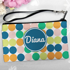 Personalized Navy Colorful Large Dots Clutch Bag (5.5X10 Inch)