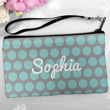Personalized Aqua Grey Large Dots Clutch Bag (5.5X10 Inch)