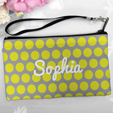 Personalized Yellow Grey Large Dots Clutch Bag (5.5X10 Inch)