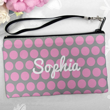Personalized Pink Grey Large Dots Clutch Bag (5.5X10 Inch)