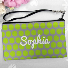 Personalized Lime Grey Large Dots Clutch Bag (5.5X10 Inch)