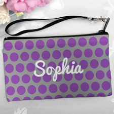 Personalized Purple Grey Large Dots Clutch Bag (5.5X10 Inch)
