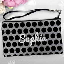 Personalized Black Grey Large Dots Clutch Bag (5.5X10 Inch)