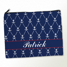 Personalized Navy White Anchor Large Cosmetic Bag (11