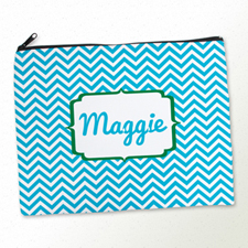 Personalized Turquoise Chevron Large Cosmetic Bag (11