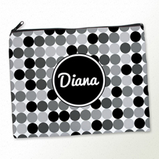 Personalized Black Grey Large Dots Large Cosmetic Bag (11
