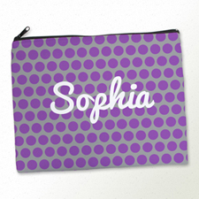Personalized Purple Grey Polka Dots Large Cosmetic Bag (11