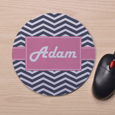 Custom Printed Navy Chevron Design Mouse Pad