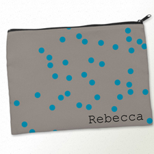 Personalized Turquoise Natural Polka Dots Big Make Up Bag (9.5 X 13 Inch)