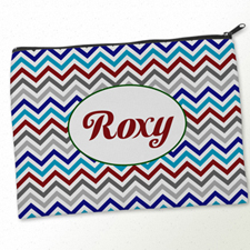Personalized Grey Blue Red Chevron Big Make Up Bag (9.5 X 13 Inch)