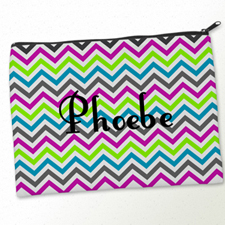Personalized Colorful Chevron Pattern Big Make Up Bag (9.5 X 13 Inch)