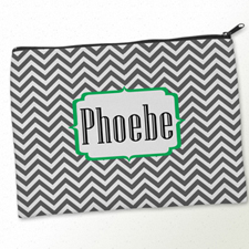 Personalized Grey Green Chevron Big Make Up Bag (9.5 X 13 Inch)