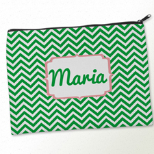 Personalized Green Carol Chevron Big Make Up Bag (9.5 X 13 Inch)
