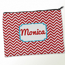 Personalized Red Aqua Chevron Big Make Up Bag (9.5 X 13 Inch)