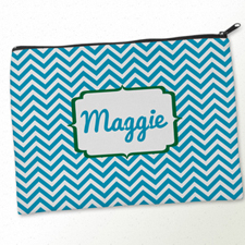 Personalized Turquoise Green Chevron Big Make Up Bag (9.5 X 13 Inch)