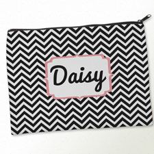 Personalized Black Carol Chevron Big Make Up Bag (9.5 X 13 Inch)
