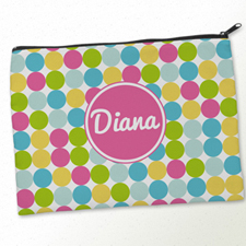 Personalized Pink White Large Dots Big Make Up Bag (9.5 X 13 Inch)