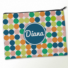 Personalized Navy White Large Dots Big Make Up Bag (9.5 X 13 Inch)