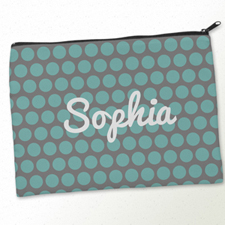 Personalized Aqua Grey Large Dots Big Make Up Bag (9.5 X 13 Inch)