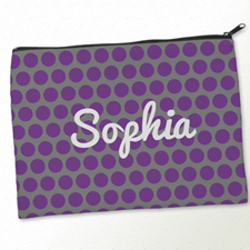Personalized Purple Grey Large Dots Big Make Up Bag (9.5 X 13 Inch)