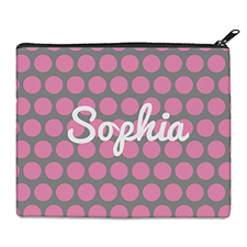 Print Your Own Pink Grey Large Dots Bag (8 X 10 Inch)