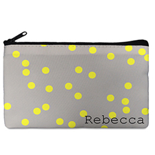 Custom Design Your Own Yellow Natural Polka Dots Makeup Bag (5 X 8 Inch)