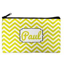 Custom Design Your Own Yellow Chevron Makeup Bag (5 X 8 Inch)