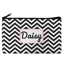 Custom Design Your Own Black Chevron Makeup Bag (5 X 8 Inch)