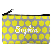 Custom Design Your Own Yellow Grey Large Dots Makeup Bag (5 X 8 Inch)