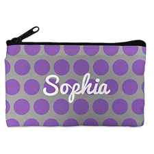 Custom Design Your Own Purple Grey Large Dots Makeup Bag (5 X 8 Inch)