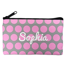 Custom Design Your Own Pink Grey Large Dots Makeup Bag (5 X 8 Inch)