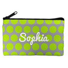 Custom Design Your Own Lime Grey Large Dots Makeup Bag (5 X 8 Inch)