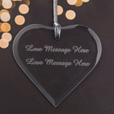Custom Laser Engrave Message Glass Heart Shape Ornament