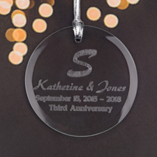 Personalized Engraving Our Anniversary Round Glass Ornament