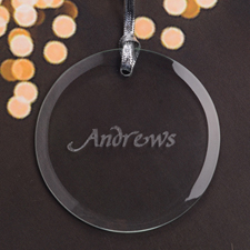 Personalized Engraving Custom Family Name Round Glass Ornament