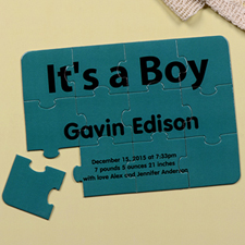 It's A Boy Personalized Birth Announcement Puzzle Card