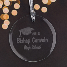 Personalized Engraving Hip Hat Round Glass Ornament
