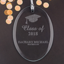 Personalized Laser Etched Victorious Grad Glass Ornament