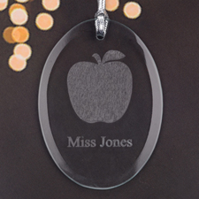 Personalized Laser Etched A+ Teacher Apple Glass Ornament