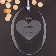 Personalized Laser Etched We'Re Inseparable Glass Ornament