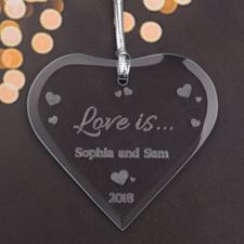 Personalized Engraved Fun Hearts Heart Shaped Ornament