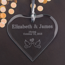 Personalized Engraved Married Love Heart Shaped Ornament